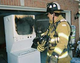 Stackable clothes dryer fire.